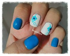Blue mani with stamped blue nail