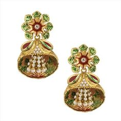 305868 Green, White and Off White color family Earrings in Metal Alloy Metal with Beads, CZ Diamond stone and Gold Rodium Polish work