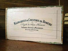 Vintage French Wood Sign ~ Advertisement ~ Brocante Shop Sign Prop ~ Drawer Front
