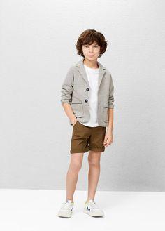 Textured cotton blazer   MANGO KIDS