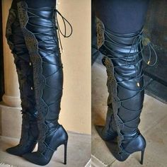 Amazing Cut Out Thigh High Lace up Boots
