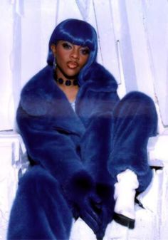 Lil' Kim's awesome blue mink jumpsuit!