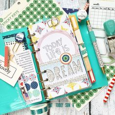 plannerfriend: 'Twas time to change the ol'setup in my personal turquoise Domino and May's @theplannersociety Planner Kit was perfecto #plannersocietykitclub