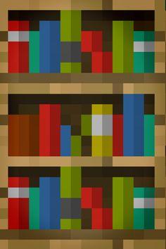 Minecraft book shelf phone background