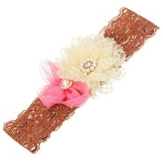 Saddle brown lace headband featuring a pink by HalliesCreations14 $14