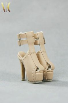 SK079 Beige Fashion Ankle High Heels Shoes for Fr2 Fashion Royalty DG Barbie #SKCouture
