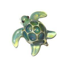 lampwork boro glass pendant focal bead mini sea by jilleglass