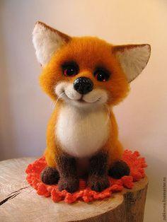 Купить войлочный лисёнок Лучик - рыжий, лисенок, подарок, авторская ручная работа, войлочная игрушка