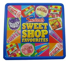 This Sweet Shop Favourites Tin contains lots of retro favourites by Swizzles Matlow, the masters of nostalgic sweets. The tin contains a wide range of retro sweet including: Love Hearts Drumsticks Refreshers Squashies Double Lollies Fruity Pops Fizzers Drumstick Squashies Refreshers Chew Bars Parma Violets Double Dips