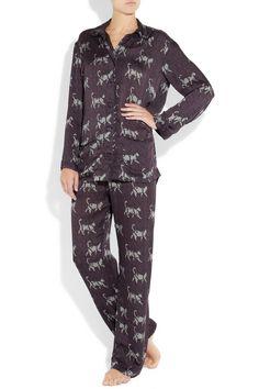 We think the silky purple sleepwear would be the purr-fect addition to any… Silk Pajamas, Pyjamas, Pjs, Silk Pj Set, Pj Sets, Lanvin, Nightwear, Pajama Set, Lounge Wear
