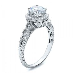 Halo Hand Engraved Engagement Ring -Vanna K