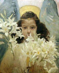 María con azucenas Joaquin Sorolla.