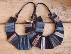Collares de tela vaquera reciclada  -  recycled Denim Necklaces