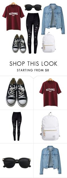Untitled #30 by worldofalicin on Polyvore featuring moda, WithChic, Converse and Herschel Supply Co.