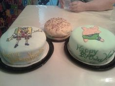 3 fondant cakes shown for 3 different birthday people, spongebob, patrick, and a crabby patty.