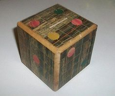 Vtg Traditional Japanese Puzzle Box Wood Dice Hidden Compartment Mame Chinese