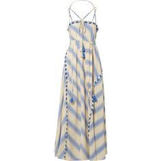Dodo Bar Or Pedro tasseled striped cotton-gauze maxi dress (€225) ❤ liked on Polyvore featuring dresses, light blue, embroidery maxi dress, drape maxi dress, slimming maxi dresses, fringe dress and maxi dresses