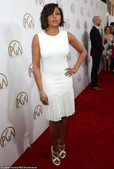 Strutting their stuff:Taraji P Henson and Janelle Monae were more than happy showcase their own figures on the red carpet in a pair of fabulous outfits at the Producers Guild of America Awards on Saturday