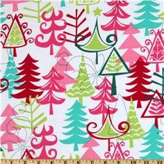 Michael Miller Holiday Yule Trees Aqua Xmas Trees Multi ~ This is such a fun color scheme for a child's christmas!