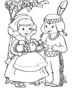Indian and Pilgrim Coloring Pages | Thanksgiving Printables of Pilgrims and Indians Sharing Food