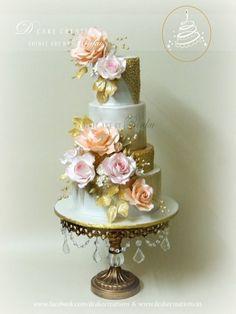 Elegant 50th Golden Wedding Anniversary Cake