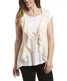 Ivory Ruffle Lace-Back Vest #zulily #zulilyfinds