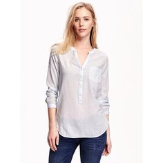 Old Navy Long Sleeve Tunic For Women ($19) ❤ liked on Polyvore featuring tops, tunics, ethereal blue, v neck long sleeve top, v-neck tunic, pink top, v-neck tops and blue top