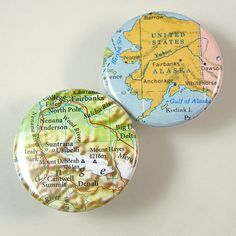 Alaska Map Pinback Buttons by XOHandworks $3