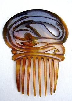 Antique hair comb Victorian Spanish steer horn by ElrondsEmporium