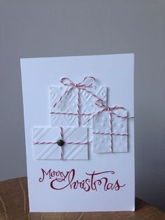 White on White Stampin' Up! Christmas Card. Using embossing folders by Amanda Fowler of Inspiring Inkin'