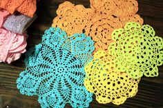 Dyeing doilies - sew them together for a retro coverlet  Like this idea for a runner for the table at Easter Time
