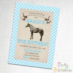 Vintage Horse Invitation Blue by PartyPrintablesAust on Etsy, $9.95