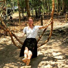 Natural tree swing in Angkor Vat city