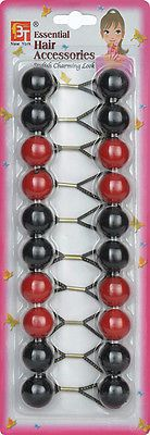 Red And Black Elastic Ponytail Holder Beads-  Girl Hair Scrunchie Knocker Ball