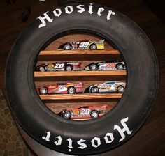 But with sprint cars! Hoosier Tire Shelf made from Actual Race Tire / Die Cast Cars / Collectables / Dirt Track Racing Racing Bedroom, Car Bedroom, Garage Bedroom, Baby Boy Room Decor, Baby Boy Rooms, Baby Boys, Triumph Motorcycles, Nascar Room, Child Room