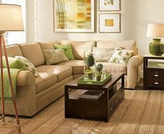 living room - green and brown, orange accent, espresso, natural fibers, love the details. Love love love!!!!!