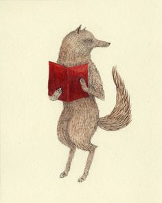 wolf reading 'Little Red Riding Hood'. Wolf Illustration, Claude Monet, Vincent Van Gogh, Les Fables, Make Love, Woodland Creatures, Woodland Critters, Forest Creatures, Jewelry Making Tutorials