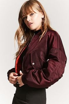 Product Name:Ruched-Sleeve Bomber Jacket, Category:outerwear_coats-and-jackets, Cool Street Fashion, Trendy Fashion, Padded Jacket, Leather Jacket, Red Bomber Jacket, Celebrity Look, Affordable Clothes, Fashion Books, Latest Trends