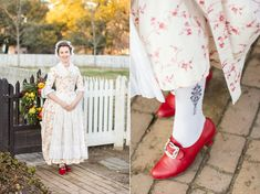 """Mode de Lis: · 18th century Robe a l'Anglaise ·- wearing """"Kensington"""" 18th c. shoes in red, closed with """"Valois"""" silver wrought buckles by American Duchess"""