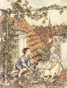 fairy tales: The Snow Queen illustration by Arthur Rackham