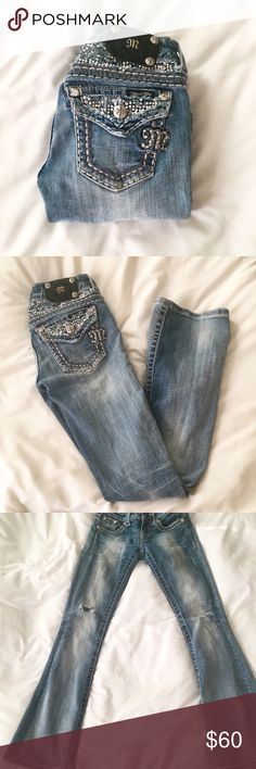 """Miss Me Jeans ✨ Miss Me Jeans with bedazzled pockets - Bootcut style - Distressed wash - 30"""" inseam - MSRP $109 ✨ Miss Me Jeans"""