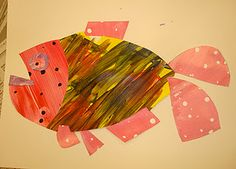 Eric Carle art lesson: Painted Papers, Collage Introduction, Color, Pattern, Shape