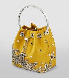 Jimmy Choo yellow Bon Bon Embellished Satin Bucket Bag  Harrods GB #AD , #paid, #Bon, #Embellished, #yellow, #Jimmy, #Choo Jimmy Choo Shoes, Harrods, Work Wear, Bucket Bag, Women Accessories, Satin, Handbags, Crystals, Yellow