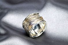 Sterling silver wide band ring  Unisex by IlanaArtisticJewelry