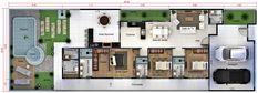 Planta de casa com 3 quartos e closet. Planta para terreno 10x30 Casas The Sims Freeplay, Steel Framing, House Construction Plan, Shipping Container Homes, Little Houses, House Floor Plans, My Dream Home, Ideas Para, Tiny House