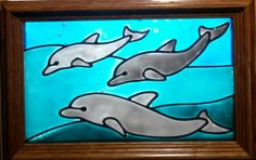 Dolphins Window Art faux stain glass painted glass by WindowArt123