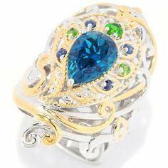 Gems en Vogue II 3.03ctw London Blue Topaz & Multi-Gem Peacock Ring