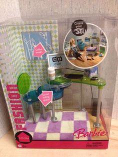 Barbie Furniture Hard to Find 2005 Mattel FF Study Space Computer Desk New | eBay