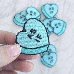 "Wildflower   Co. - ""As If"" Conversational Heart Candy Embroidered Patch, $4.00 (http://www.wildflower.co/as-if-conversational-heart-candy-embroidered-patch/)"
