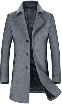 2bd5c1bcd6c ELETOP Men s Wool Coats Single Breasted Trench Coat Windbreaker Jacket 1871  Gray S at Amazon Men s Clothing store